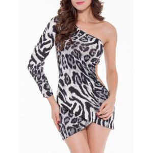 Cut Out One Shoulder Leopard Print Short Club Dress - BLACK 2XL