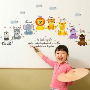 Removable Waterproof Cartoon Animals Wall Stickers - COLORMIX