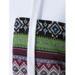 Tribal Pattern Spliced Drawstring Hoodie -