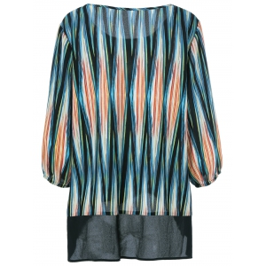 Plus Size Asymmetrical Striped Blouse - COLORMIX 3XL
