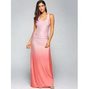 Ombre Sleeveless Racer Back Maxi Tank Dress - ORANGE RED XL
