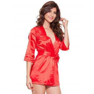 Lace Spliced Wrap Cut Out Sleepwear -