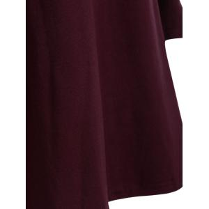 Round Neck Pleated Dress - WINE RED 5XL