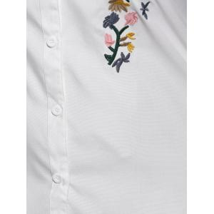 High Low Embroidered Long Blouse -