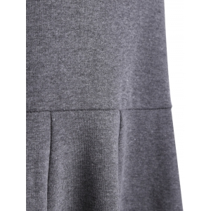 Scoop Neck Pleated Dress - DEEP GRAY 5XL