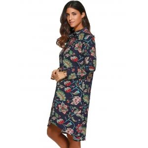 Floral Print Asymmetrical Shirt Dress -