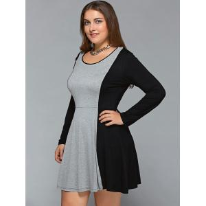 Plus Size Long Sleeve Flare Dress - BLACK AND GREY 3XL