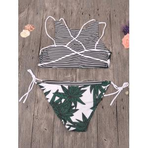 Strappy Leaf Print Striped Bikini Set - WHITE L