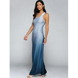 Gradient Color Maxi Dress - LIGHT BLUE XL