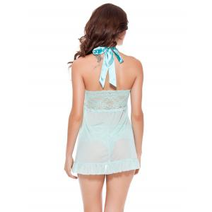 Halter See-Through Lace Spliced Babydoll -