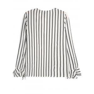 V Neck Tied Flounced Striped Blouse -