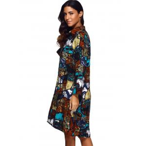 Buttoned Abstract Print Shirt Dress -