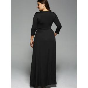 Plus Size Long Sleeve Maxi Formal A Line Evening Swing Dress - BLACK 3XL