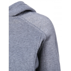 Solid Color Zip Embellished Patchwork Pullover Hoodie - GRAY 2XL