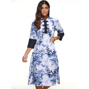 Blossom Print Patchwork Mandarin Dress -