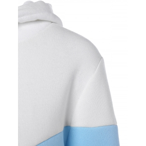 Hit Color String Pullover Hoodie - BLUE/WHITE S
