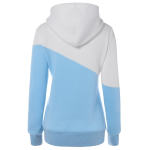 Hit Color String Pullover Hoodie - BLUE AND WHITE 2XL
