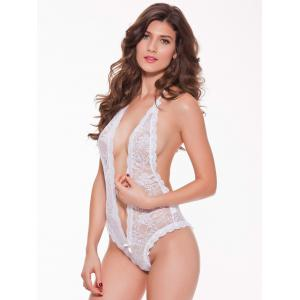 Halter Lace Sheer Backless Cut Out Lingerie Teddies - WHITE 2XL