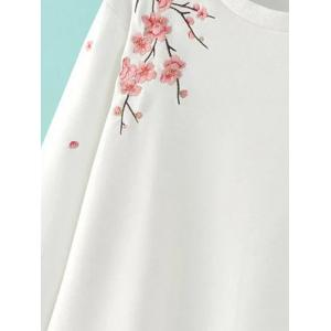 Round Neck Floral Embroidered Sweatshirt -