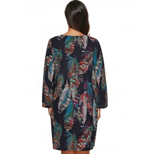 Feather Print Long Sleeves Shift Dress -