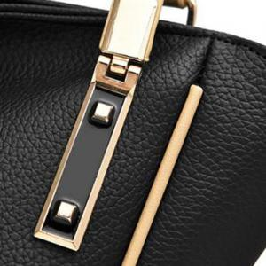 Colour Splicing Textured Leather Metal Shoulder Bag -