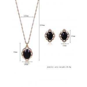 Faux Gem Rhinestone Hollowed Jewelry Set - BLACK