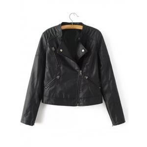 PU Leather Zipped Jacket -