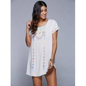Embroidered Backless Cover Up Dress -