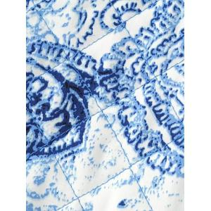 Zipped Porcelain Print Quilted Jacket -