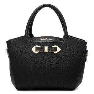 Metal Bow Textured Leather Tote Bag -