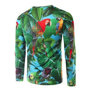 3D Leaves and Parrot Print Crew Neck Long Sleeve T-Shirt -