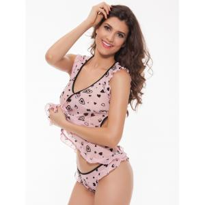 Cut Out Printed Ruffled Babydoll - PINK ONE SIZE