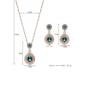 Bijoux Faux Gem Hollowed Teardrop Set - Vert