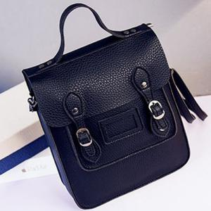 Textured Leather Double Buckle Metal Crossbody Bag -
