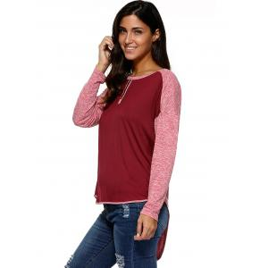 High Low Hem Spliced Comfy Blouse -