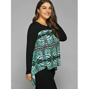 Plus Size Abstract Pattern Asymmetrical Blouse - BLACK AND GREEN XL