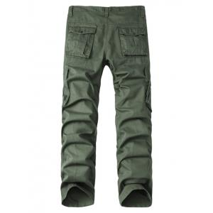 Multi-Pocket Zipper Fly Straight Leg Cargo Pants - ARMY GREEN 40