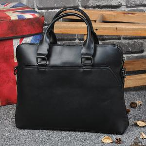 Faux Leather Zipper Briefcase -