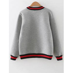Crew Neck Embroidered Sequins Sweatshirt - GRAY L