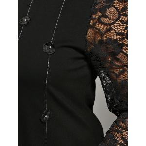 Buttoned Lace Spliced Dress -