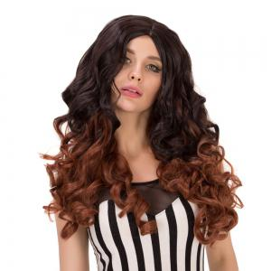 Long Double Color Centre Parting Wavy Heat Resistant Fiber Wig -