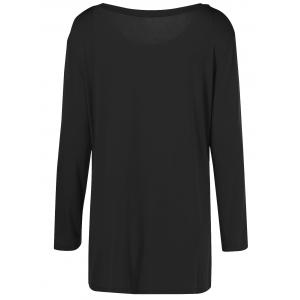 Plus Size Inclined Buttoned Blouse - BLACK XL