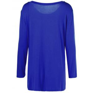 Plus Size Inclined Buttoned Blouse - BLUE 5XL
