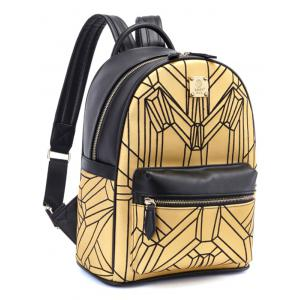 PU Leather Embroidery Geometric Pattern Backpack -