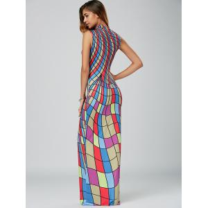 High Neck Floor Length Bodycon Maxi Dress - COLORMIX XL