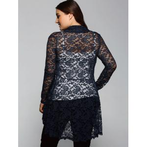 Collarless Cut Out Lace Blouse - CADETBLUE 4XL