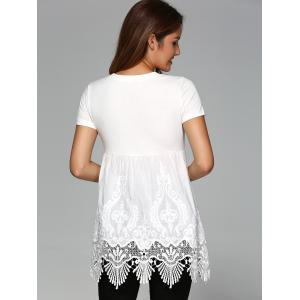 Elegant Round Neck Short Sleeve Solid Color Blouse - WHITE XL