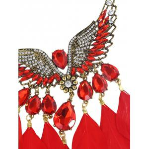 Water Drop Angel Wings Feather Necklace - RED