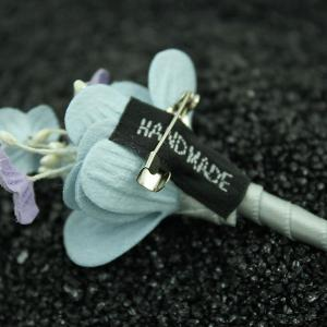 Faux Leather Layered Bouquet Brooch -