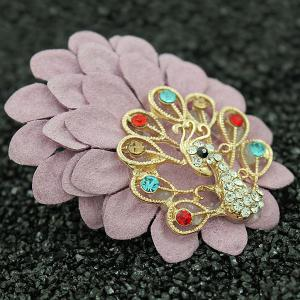 Faux Leather Filigree Peacock Brooch - LIGHT PINK
